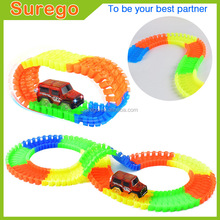Kitoz Toy Racing Car Track Slot Glow In Dark Bend Flex Twister Colorful Buildable Assembly Racing Racetrack Court with Led Car