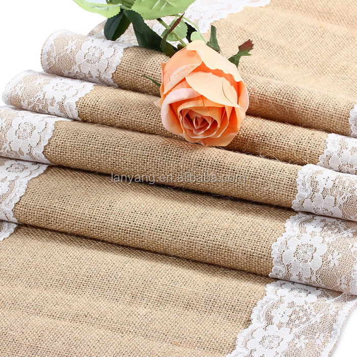 Burlap And Lace Wedding Table Runners Popular Items for Party Decor New Arrival(CB673)