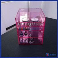 2016 Hot!! Wholesale makeup case with 5 drawers acrylic makeup case with drawers