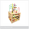 4 in 1 Learning Activity Cube ,Wooden bead maze cube