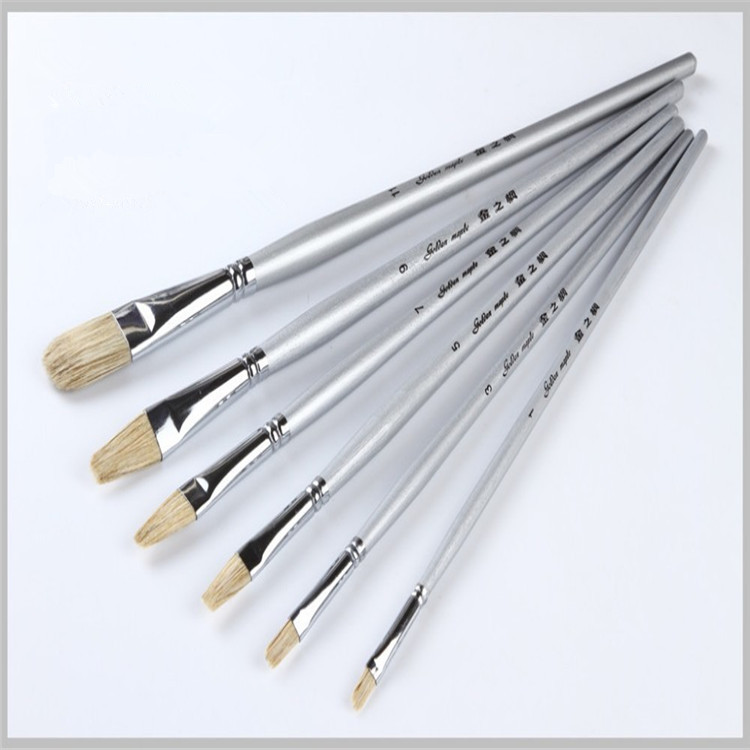High Quality Oil Painting Brushes for Beginners Wooden <strong>Handle</strong> pig hair brush