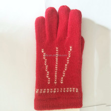 Women Winter Red Knitted Wool Gloves with 3 Top Lines