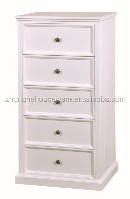 New Design Tall White 5 Drawers Chest MDF Storage Cabinet