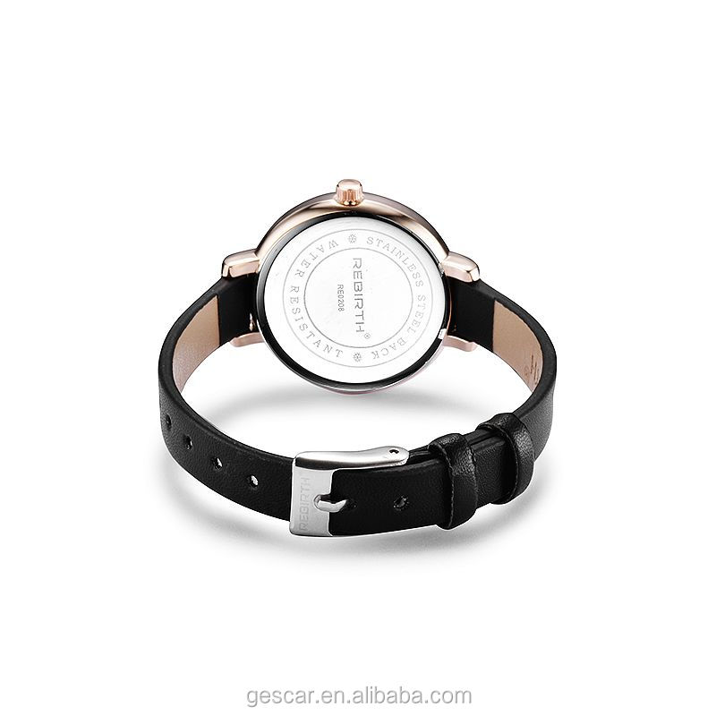Wholesale fashion lady watch Top brand high quality Big Round Dial Mini Genuine Leather Rebirth wrist watch