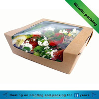 Eco friendly kraft paper salad packing box with pvc window
