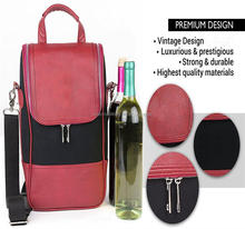 Wine Carrier / Wine Tote Bag - Luxury Leather Wine Champagne Case. Insulated Cooler Chiller Case for 2 Bottles