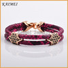New Products Wholesale Costume Unique Python Leather Rose Gold Plated Girl Crystal Jewelry Bracelet