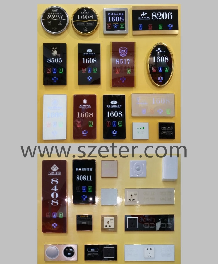LED wireless touch screen type hotel switch with display room number Sign