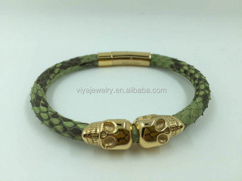 Navy blue Python leather cord with north America skull Bracelet
