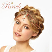 Wholesale Boho Style Fancy Plated Gold Hair Jewelry Head Chain for Wedding