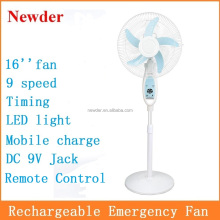 "16"" inch 12V AC DC Remote Control Rechargeable Stand Fan with LED Light Model 118-16H"