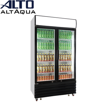Altaqua showcase chiller of 2 door glass upright vertical type for soft drink beer pepsi cola