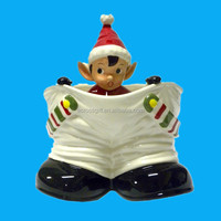holiday time Christmas Decorative Elf in Santa Pants Ceramic Caddy Dish (Red)