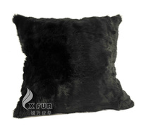 CX-D-05C 45X45cm Genuine Rabbit Fur Black Chair Cushion Sofa Cushion