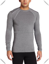 Organic Cotton Viscose Elastane Men's performance Hybrid Fitted Long Sleeve gym fitness Tee custom for men in bulk