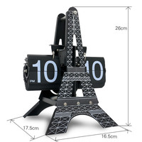 Eiffel Retro Auto flip clock Unique Modern Black classic small scale flip clock creative table clocks for home