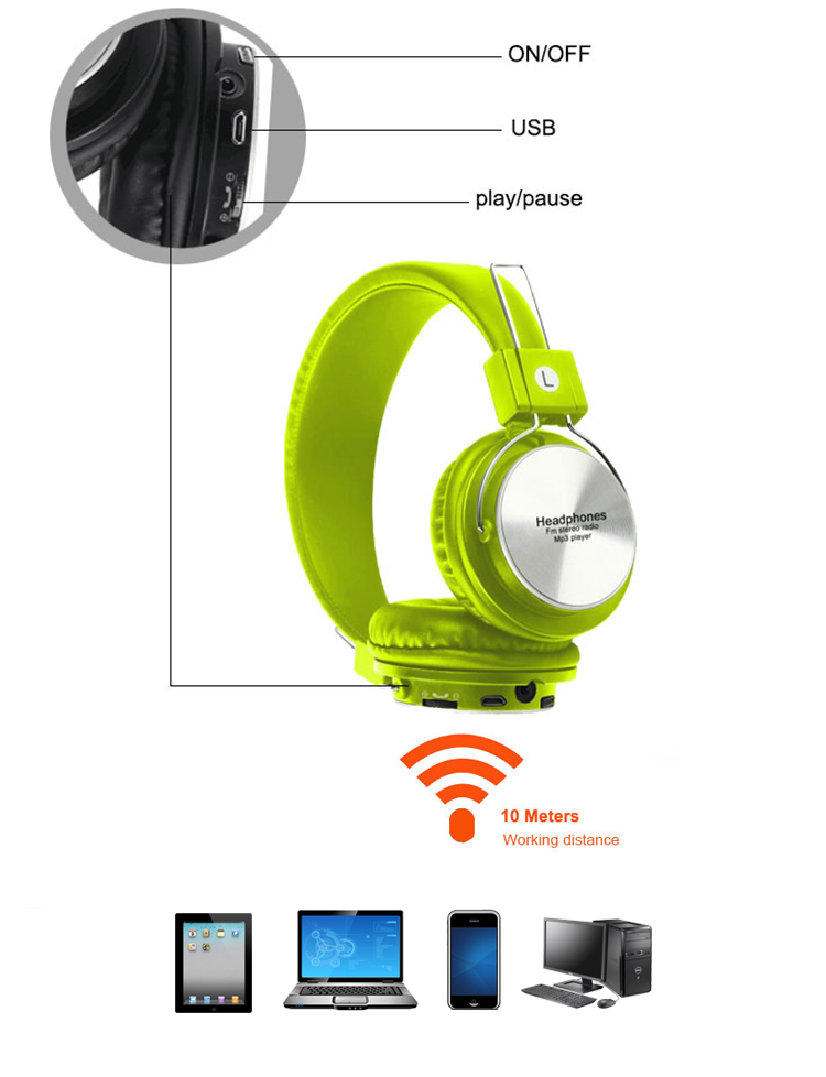 Colorful Earphone Bt Wireless Headphones With Microphone