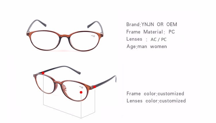Promotional CE FDA taizhou YNJN PC frame unbreakable reading glasses