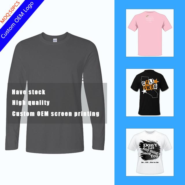 Hot sale wholesale Long sleeve tshirt for Mens Free sample Free Screen printing 100% preshrunk cotton Stock Custom logo Tshirt