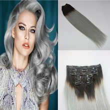 drop ship india remy hairs 1Bsilver ombre grey hair clip in hair extension