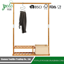 Bamboo Clothes Hanger Stand with 2 Tier Shoe Shelves and Laundry Basket