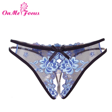 OnMe Focus Lace transparent Women G-String Multi-color Panties Open Crotch Sexy Lingerie Embroidery Tanga