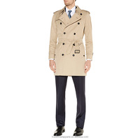 Long Double Breasted Beige Trench Coat for Men