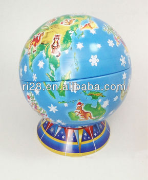 Globe sphere tin can with support stand