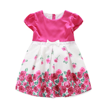 2015 summer pure cotton little queen rose flower designs birthday girl dresses for baby girls