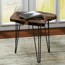 Irregular Shape Modern Style Root Carving Coffee Table with 3 Iron Legs