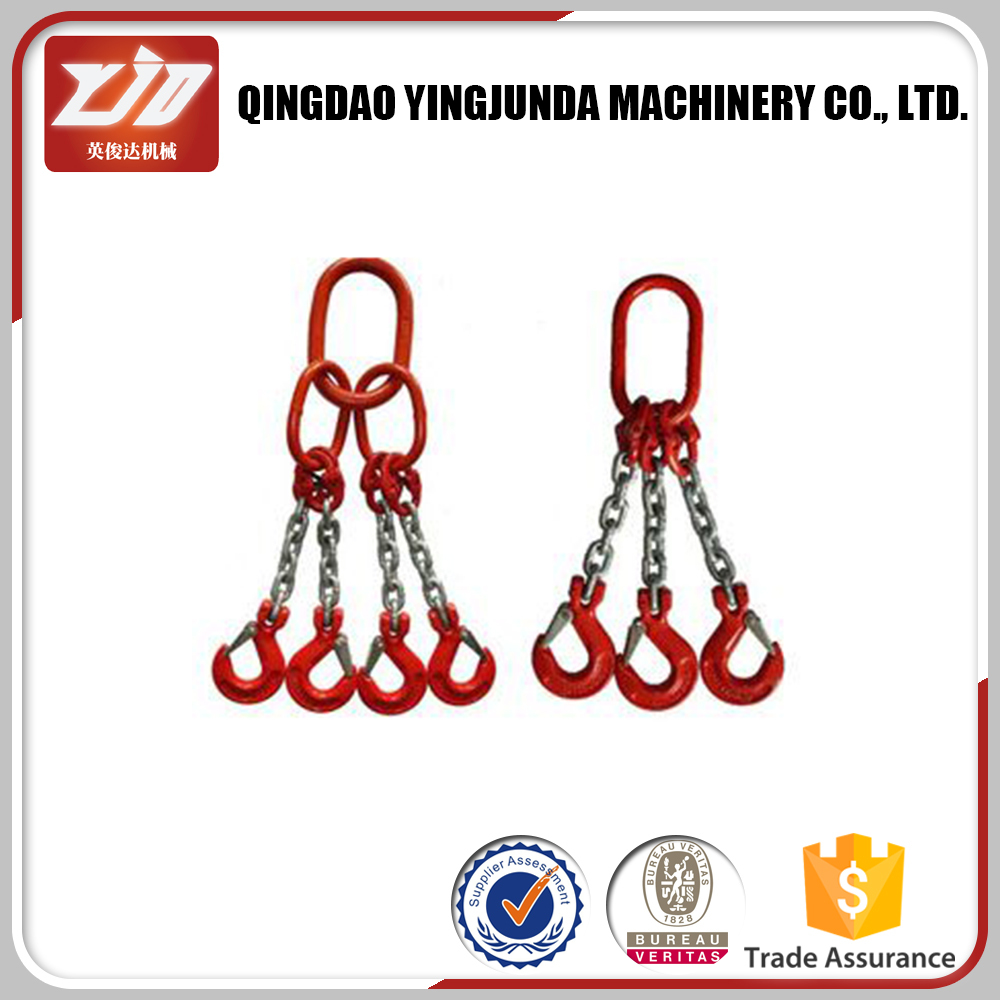 G80 chain sling alloy steel chain sling with hook supplier