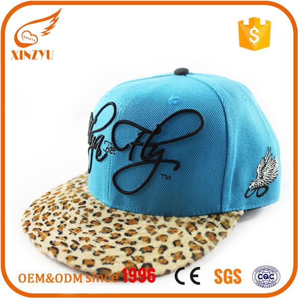 Custom made adjust fitted flat bill leopard print hip hop snapback hats