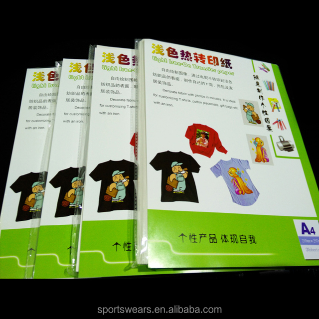 hot selling best quality A3/ A4 laser self weeding no cut t-shirt heat transfer paper for light 100 cotton fabric
