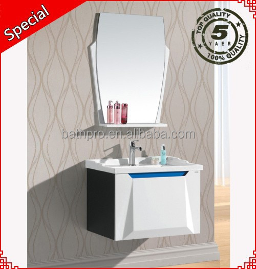 Italian style sliding door white color wooden mirror bathroom vanities and cabinets