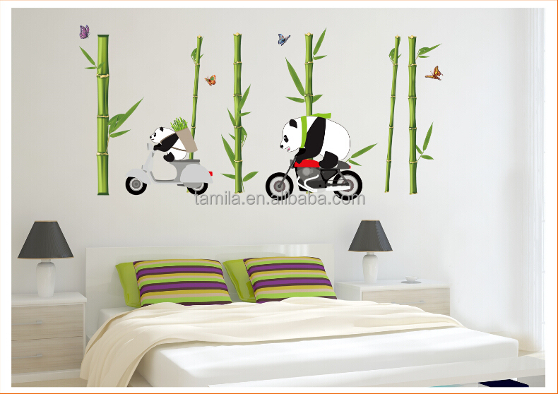 New Arrival Kids Cartoon Pandan Ride Bike Wall Sticker