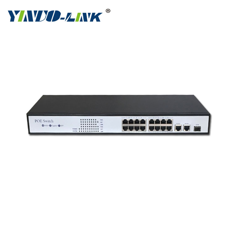 16 port 10/100Mbps PoE + 2 gigabit SFP port POE Switch Support OEM 30W 802.3at for surveillance IP camera