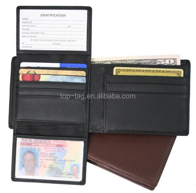 Best Seller Leather, PU Material RFID Blocking Secured Wallet Anti E-pickpocket for gift