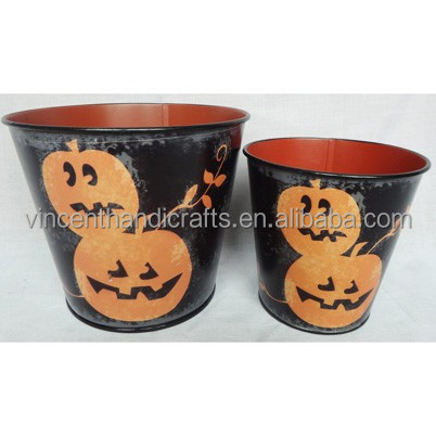 Promitional painted pumpkin metal ice bucket for halloween decoration