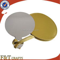 Custom cheap stainless steel makeup cosmetic pocket mirror with leather case
