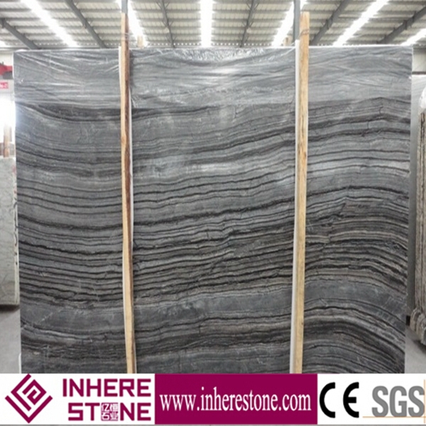 Travertine polished black forest marble big slab
