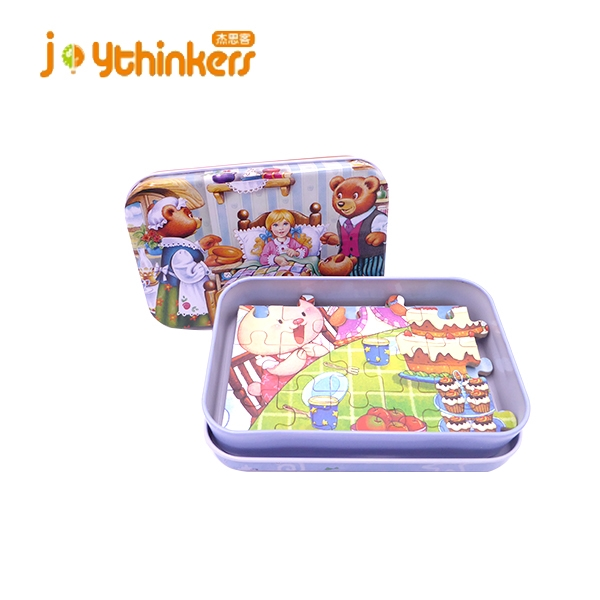 Wood Jigsaw Puzzles 60 Pieces in Iron Box for Kids Ages 4-8 Great educational Toy for Kids and Adults