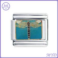 9mm enamel Dragonfly animal charms italian bracelet