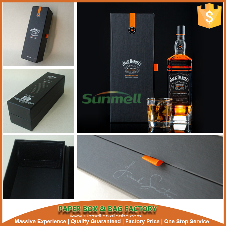 black luxury cardboard paper wine box with tray holder