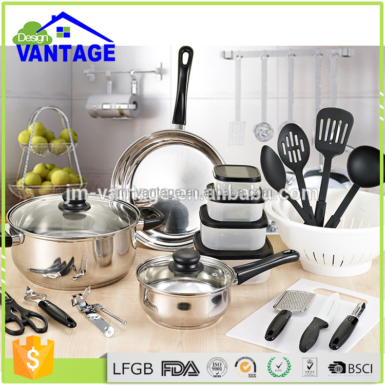 High quality 35 pcs non stick stock pot set cooking pot stainless steel cookware set