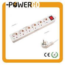 CE 6 Ways European Standard Electrical Power Sockets With On/Off Lighted Switch H05VV-F 3G 1.5mm Surge Protector Germany Type