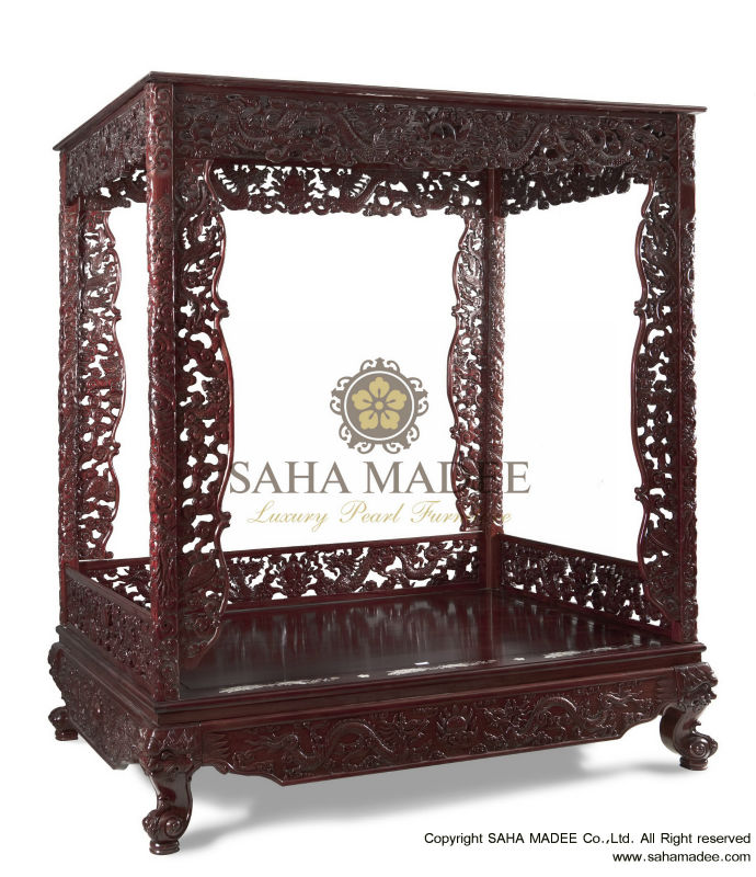 Emperor bed, rosewood crafted with dragon design, Cherry shade