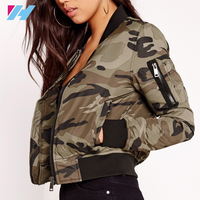 Yihao 2017 new fashion wholesale women casual camo bomber jacket