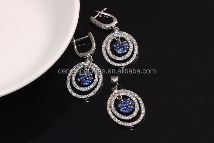 Hot Sale Fashion 925 Jewelry Larger Dangle Charm with sapphire stone earring sex lady 925 silver hoop earring
