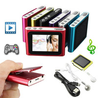 Colorful 6th Gen 1.8 inch Screen Clip FM Radio Mp3 Player Support 4/8/16/32GB Including Headphone and Mini USB Cable