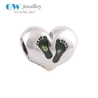 jewellery auctions solid silver beads heart shape charm with printed foot